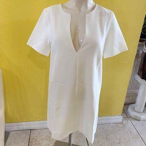 Sexy white deep V neck dress size M
